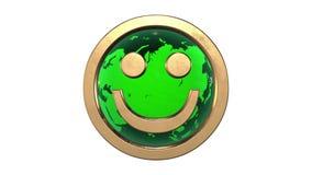 Zapętlająca animacja: 3d uśmiechu twarzy złoty emoticon przeciw przędzalnictwo zieleni kuli ziemskiej odpłacającej się na białym  ilustracja wektor