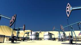 Zapętlający pole naftowe z pumpjacks i rurociąg zdjęcie wideo