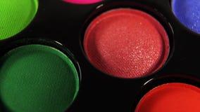 Zapętlający Wirujący barwioną fachową makeup eyeshadows paletę dla kosmetyków, Super makro- strzał zdjęcie wideo