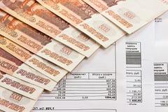 Zapłata użyteczność i Rosyjski pieniądze zdjęcie royalty free