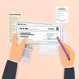 Zapłaty i pieniężne operacje podpisywanie banka czek Płaski desi ilustracja wektor