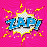 Zap! - Bolha cômica do discurso, desenhos animados Foto de Stock Royalty Free