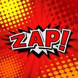 Zap! - Komisk anförandebubbla, tecknad film stock illustrationer