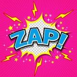Zap! - Komisk anförandebubbla, tecknad film Royaltyfri Foto