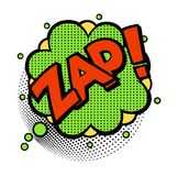 Pop art style sticker. Zap, word in speech bubble patch badge. Comic book style vector sticker, pin, patch in cartoon 80s-90s comic style Royalty Free Stock Photos