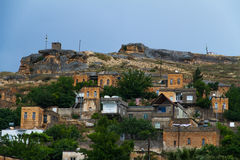 Zapadnięta wioska Savasan w Halfeti zdjęcia royalty free