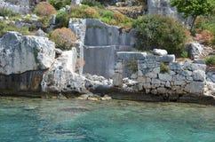 Zapadnięty miasto w morzu śródziemnomorskim Zdjęcia Royalty Free