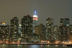 zapal Manhattan midtown nocy linię horyzontu nowego jorku zdjęcia stock