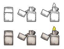 Zapalniczka otwarta i zamyka Wektorowy rocznik grawerował czarną ilustrację odizolowywającą na białym tle Obrazy Royalty Free
