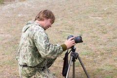 Zapalony fotograf fotografia stock
