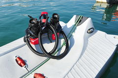 Zapata Racing water propelled flyboard boots on display at the Singapore Yacht Show 2013 Stock Images