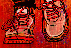 Zapatillas de baloncesto sobre un fondo de la ciudad del grunge Imagen de archivo