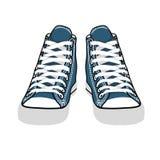 Zapatillas de deporte aisladas vector del azul de la historieta Imágenes de archivo libres de regalías