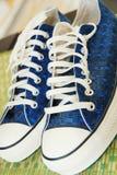 Zapatillas de deporte azules. Imagen de archivo libre de regalías
