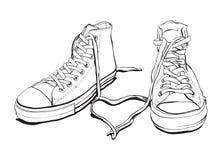 Zapatillas de deporte con el corazón encantador ilustración del vector