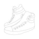 Zapatillas de deporte de la silueta del vector en el fondo blanco Imágenes de archivo libres de regalías