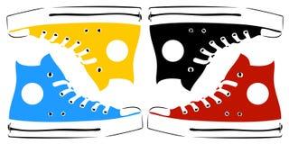 Zapatillas de deporte de la vendimia en arte pop Imagen de archivo