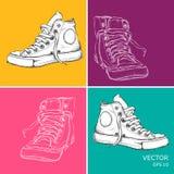 Zapatillas de deporte a mano del vintage Ejemplo del vector del estilo del arte pop Foto de archivo