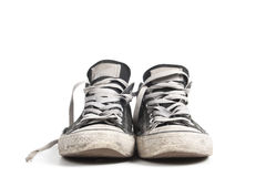 Zapatillas de deporte negras de la lona, aisladas Fotos de archivo libres de regalías