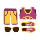 Zapatillas de deporte, pantalones cortos y vidrios de sol en colores púrpuras Ejemplo colorido de la historieta Imágenes de archivo libres de regalías