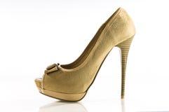 Zapato abierto del alto talón del estilete del ante Imágenes de archivo libres de regalías