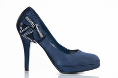 Zapato azul de la muchacha Imagenes de archivo