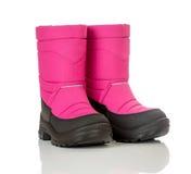 Zapato de bebé rosado del invierno Imagenes de archivo