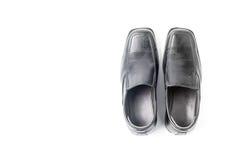 Zapato de cuero negro del ` s de los hombres de negocios aislado en el fondo blanco Fotografía de archivo