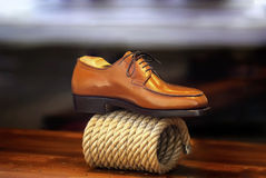 Zapato de la moda, bota de cuero Imagenes de archivo