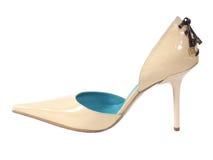 Zapato de la mujer blanca Imagenes de archivo