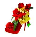 Zapato de la señora adornado con las flores imagen de archivo
