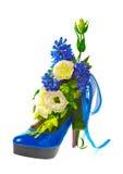 Zapato de la señora adornado con las flores imagen de archivo libre de regalías