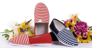 Zapato de la señora adornado con las flores Imagenes de archivo