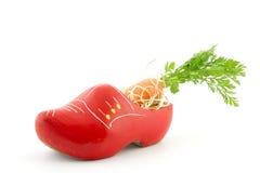 Zapato de madera con la zanahoria para la tradición de Sinterklaas del holandés Imágenes de archivo libres de regalías