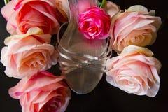 Zapato de plata con las rosas Fotografía de archivo libre de regalías