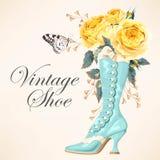 Zapato del vintage con las rosas stock de ilustración