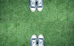 Zapato en un fondo de la hierba Imagenes de archivo