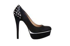 Zapato negro de la plataforma con los remaches Imagen de archivo libre de regalías
