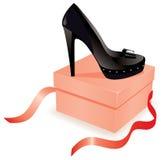 Zapato negro en el rectángulo Foto de archivo