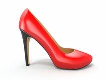 Zapato rojo de los tacones altos. 3d Foto de archivo libre de regalías
