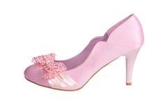 Zapato rosado del satén aislado en un blanco Fotografía de archivo libre de regalías