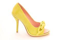 Zapato verde de la hembra de la gamuza Foto de archivo libre de regalías