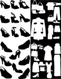 Zapato y accesorio de la silueta Imágenes de archivo libres de regalías