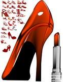 Zapato y lápiz labial atractivos Foto de archivo libre de regalías