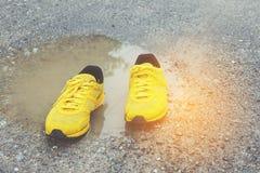 Zapatos amarillos Fotografía de archivo