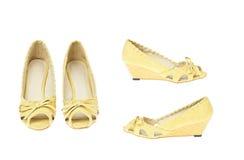 Zapatos amarillos de la manera, modelo de la plataforma Foto de archivo libre de regalías