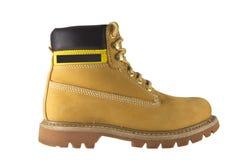 Zapatos amarillos grandes con los lenguados y los cordones ásperos Fotografía de archivo libre de regalías