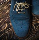 Zapatos azules del ante Fotos de archivo libres de regalías