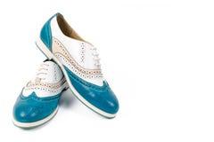 Zapatos azules hermosos de la mujer aislados en el fondo blanco imagen de archivo