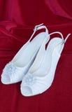 Zapatos blancos hermosos Imagen de archivo libre de regalías
